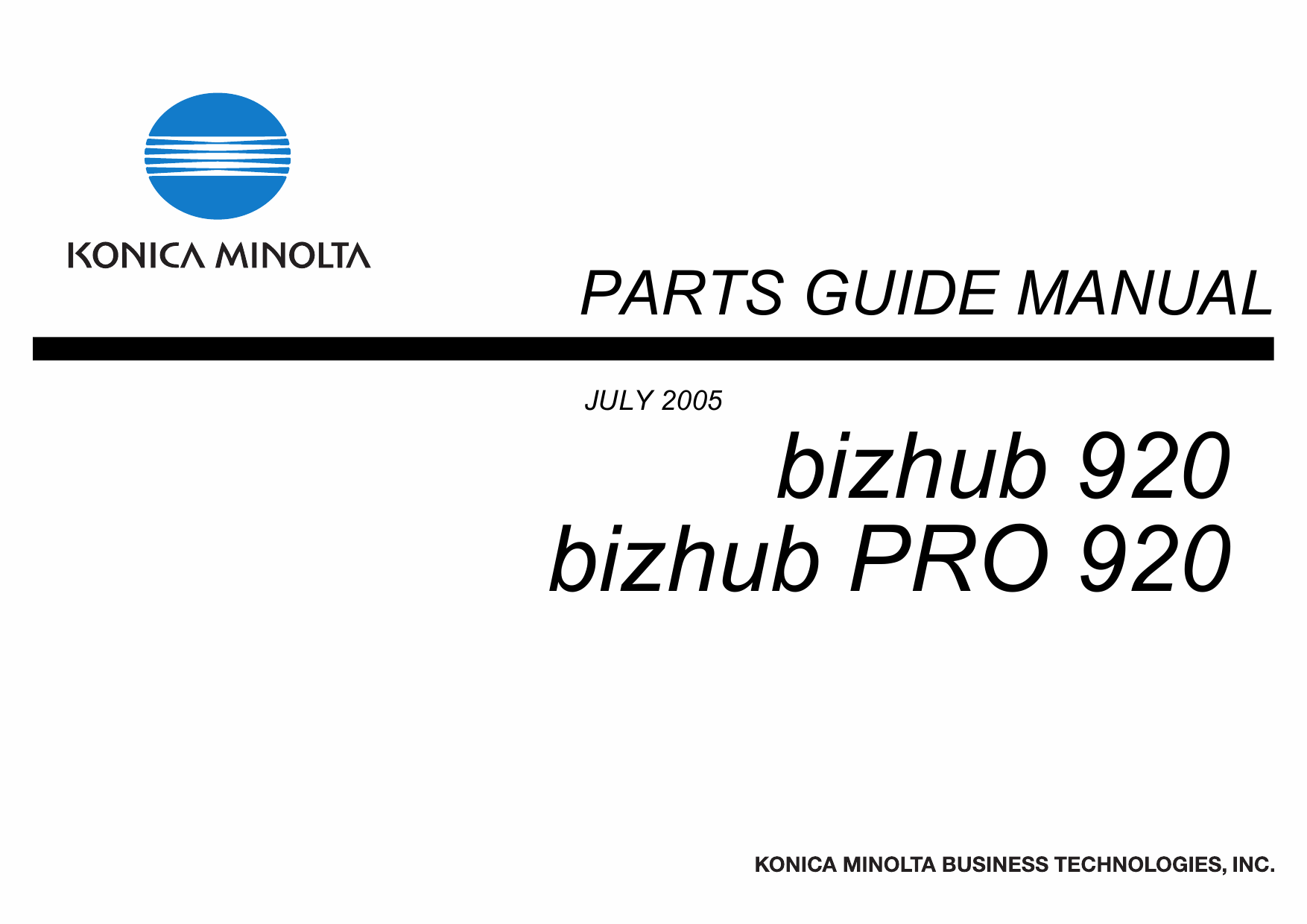 Konica-Minolta bizhub-PRO 920 Parts Manual